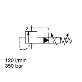 Pilot Operated, Spool Type, Inversely Controlled, SAE-10 Cartridge - PDB10PZ-08/-09