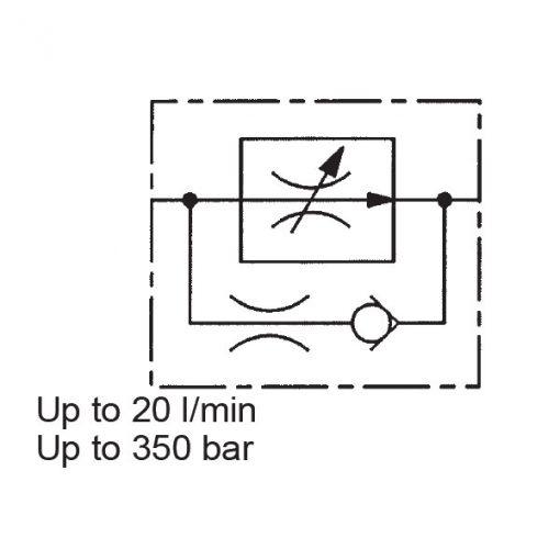 2-Way Flow Regulator, Pressure Compensated, Metric Cartridge, SR5E
